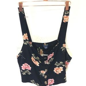AE floral button front crop tank Size XL